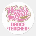 Profesor lindo de la danza etiquetas redondas