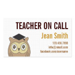 Profesor lindo del BÚHO en tarjeta de visita de la