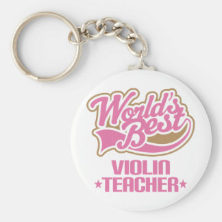Profesor lindo del violín llavero redondo tipo pin