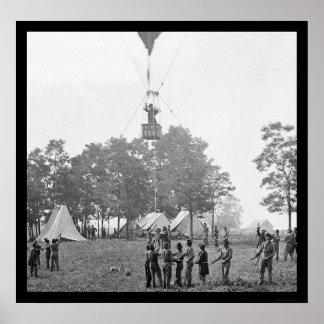 Profesor Lowe's Balloon Battle View 1862 Póster
