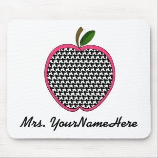 Profesor Mousepad-Houndstooth Apple con el borde r Tapetes De Ratón