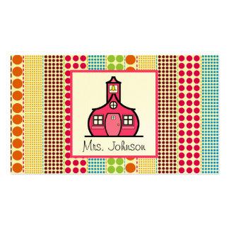 Profesor multicolor de los lunares de la escuela tarjetas de visita