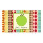 Profesor multicolor verde de los lunares de Apple Tarjeta De Visita
