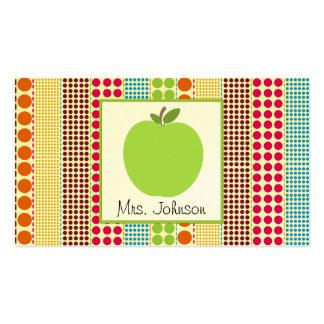 Profesor multicolor verde de los lunares de Apple Tarjetas De Visita