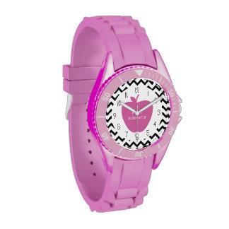 Profesor negro rosado de Apple Chevron Reloj