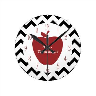 Profesor negro y blanco de Apple rojo de Chevron Reloj