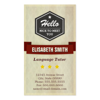 Profesor particular de la lengua - estilo retro de plantilla de tarjeta de negocio