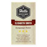 Profesor particular de la lengua - estilo retro tarjetas de visita