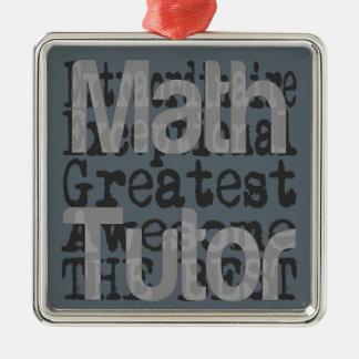 Profesor particular de la matemáticas adorno navideño cuadrado de metal