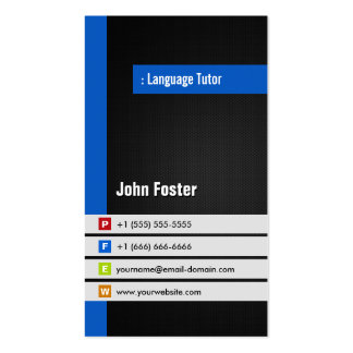 Profesor particular del idioma extranjero - azul e tarjeta personal