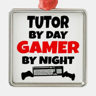 Profesor particular del videojugador adorno cuadrado plateado