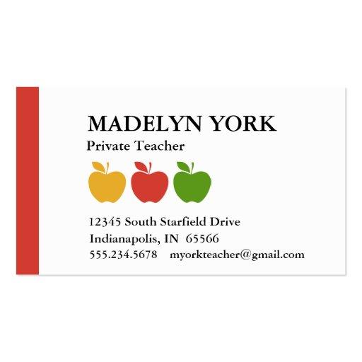 Profesor particular privado del profesor tarjetas de visita