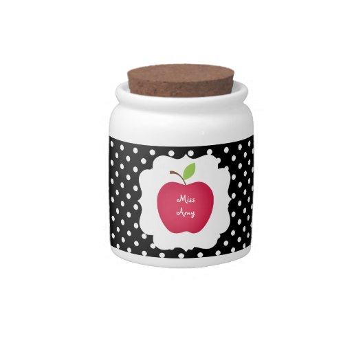 Profesor Punto-Rojo de Apple de la polca negra y b Platos Para Caramelos