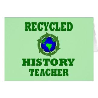 Profesor reciclado divertido de la historia tarjetas