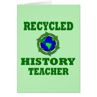 Profesor reciclado divertido de la historia tarjeta de felicitación