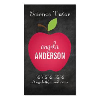 Profesor rojo clásico de la pizarra de Apple Tarjetas De Visita