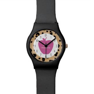 Profesor rosado de Apple del estampado leopardo Reloj