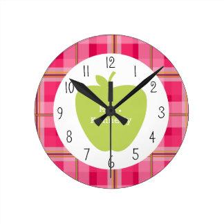 Profesor rosado de Apple del verde de la tela Reloj De Pared