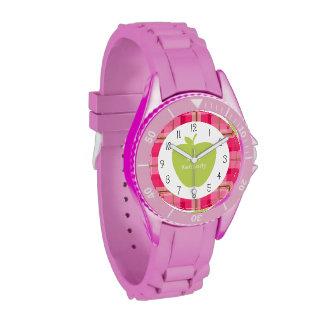 Profesor rosado de Apple del verde de la tela Reloj De Mano