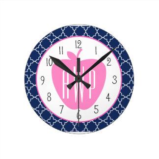 Profesor rosado del monograma de Quatrefoil de la Relojes De Pared