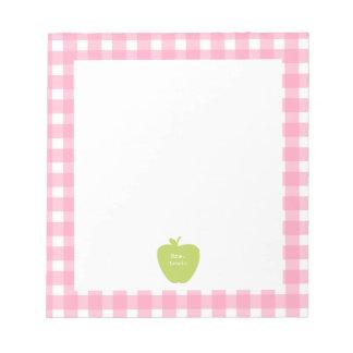 Profesor rosado verde de la guinga de Apple Blocs De Papel