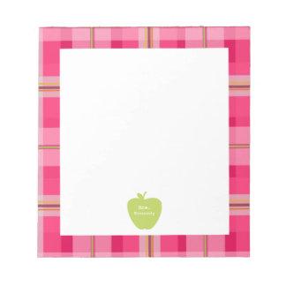 Profesor rosado verde de la tela escocesa de Apple Libretas Para Notas