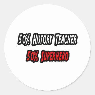 Profesor/super héroe de la historia pegatina redonda