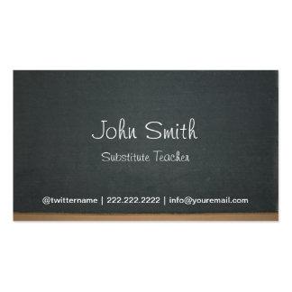 Profesor sustituto de la pizarra simple tarjetas de visita