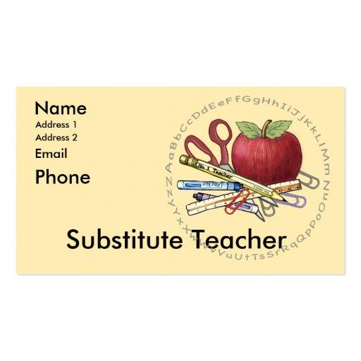 Profesor sustituto tarjetas de visita