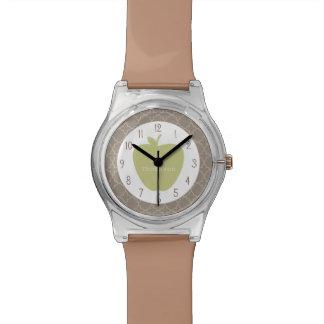 Profesor verde de Apple Brown Quatrefoil Reloj De Mano