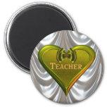 Profesor verde del corazón imán de frigorifico