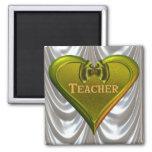Profesor verde del corazón imán para frigorifico