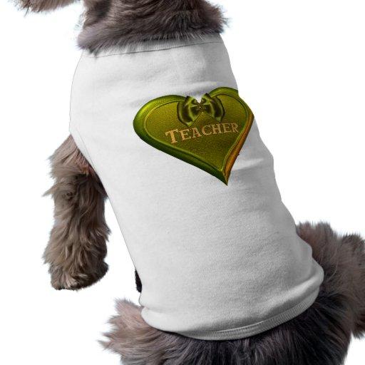 Profesor verde del corazón ropa de mascota