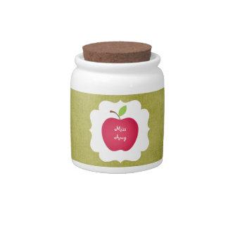 Profesor Verde-Rojo de Apple Jarra Para Caramelo