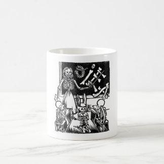"""Profesor y estudiantes esqueléticos """"día del taza"""