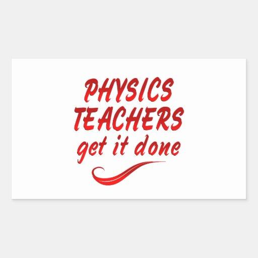 Profesores de la física pegatina rectangular