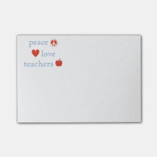 Profesores del amor de la paz post-it® nota