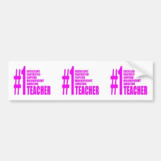 Profesores modernos rosados: Profesor del número u Pegatina De Parachoque
