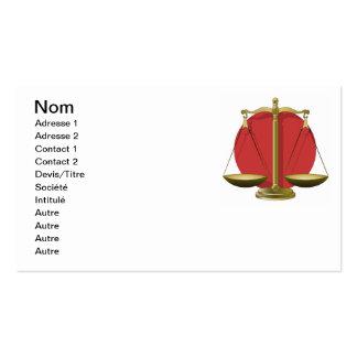 Profession avocat modèles de cartes de visite
