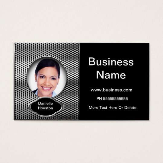 Professional Add Photo Silver Classy Business Business Card