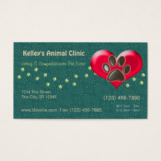 Professional Animal Services Doctor U pick Color Business Card