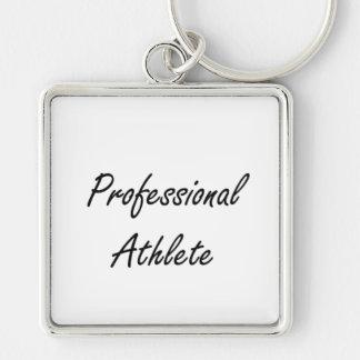 Professional Athlete Artistic Job Design Silver-Colored Square Keychain