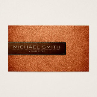 Professional Atomic tangerine Leather Look Business Card