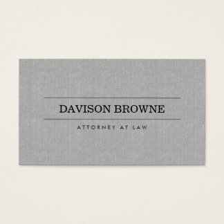 Professional Attorney Gray Linen Business Card