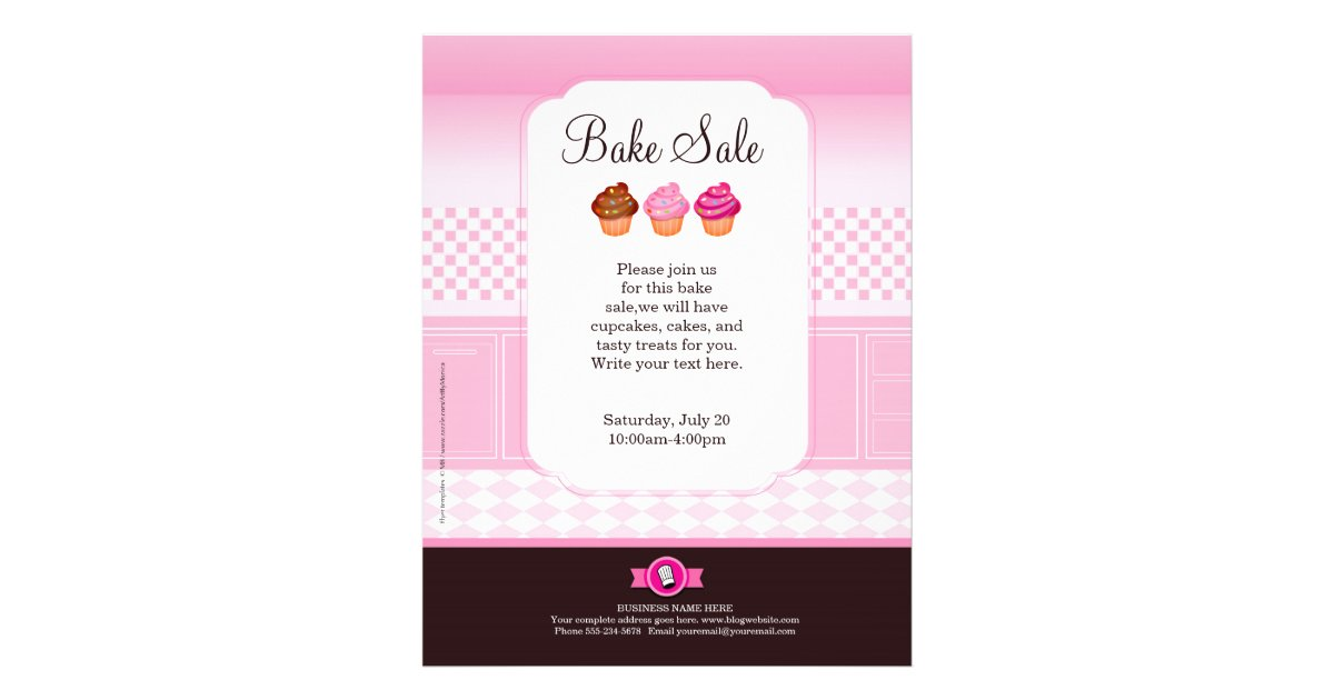 Professional Bake Sale Flyer personalized | Zazzle.com
