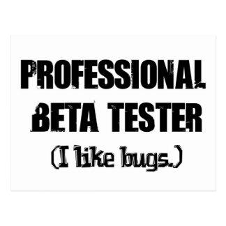 professional beta tester like bugs post card
