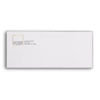 Professional Black and Faux Gold Square Logo Envelope