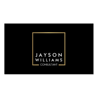 Professional Black and Faux Gold Square Logo II Business Card