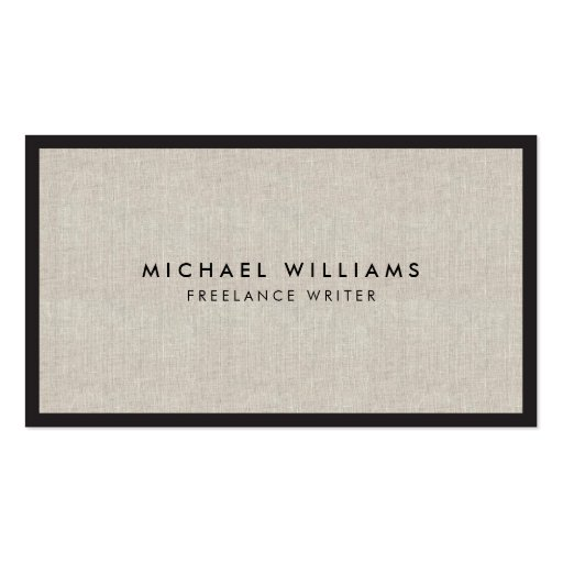 Professional Black and Tan Linen Business Card