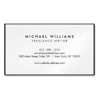 Professional Black and White Magnetic Magnetic Business Card